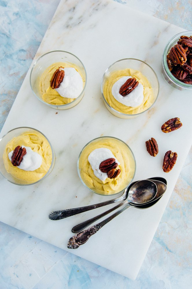 pumpkin cashew pudding with maple pecans {vegan} | www.scalingbackblog.com